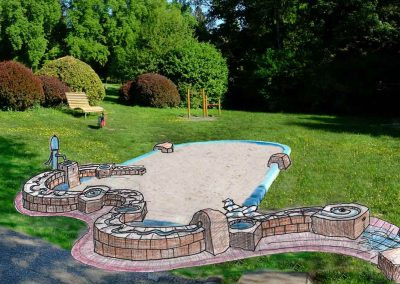 Entwurfszeichnung Wasser -Sandspielanlage