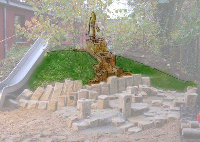 Entwurf einer Erweiterung des Wasserspielbereiches mit einem Foto als Grundlage