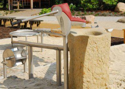 Wasserspielelemente aus Edelstahl mit Spielpatzpumpe Wasserbecken Rinnen und Wasserrad