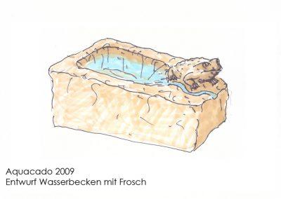 Zeichnung eines Wasserbeckens mit Frosch
